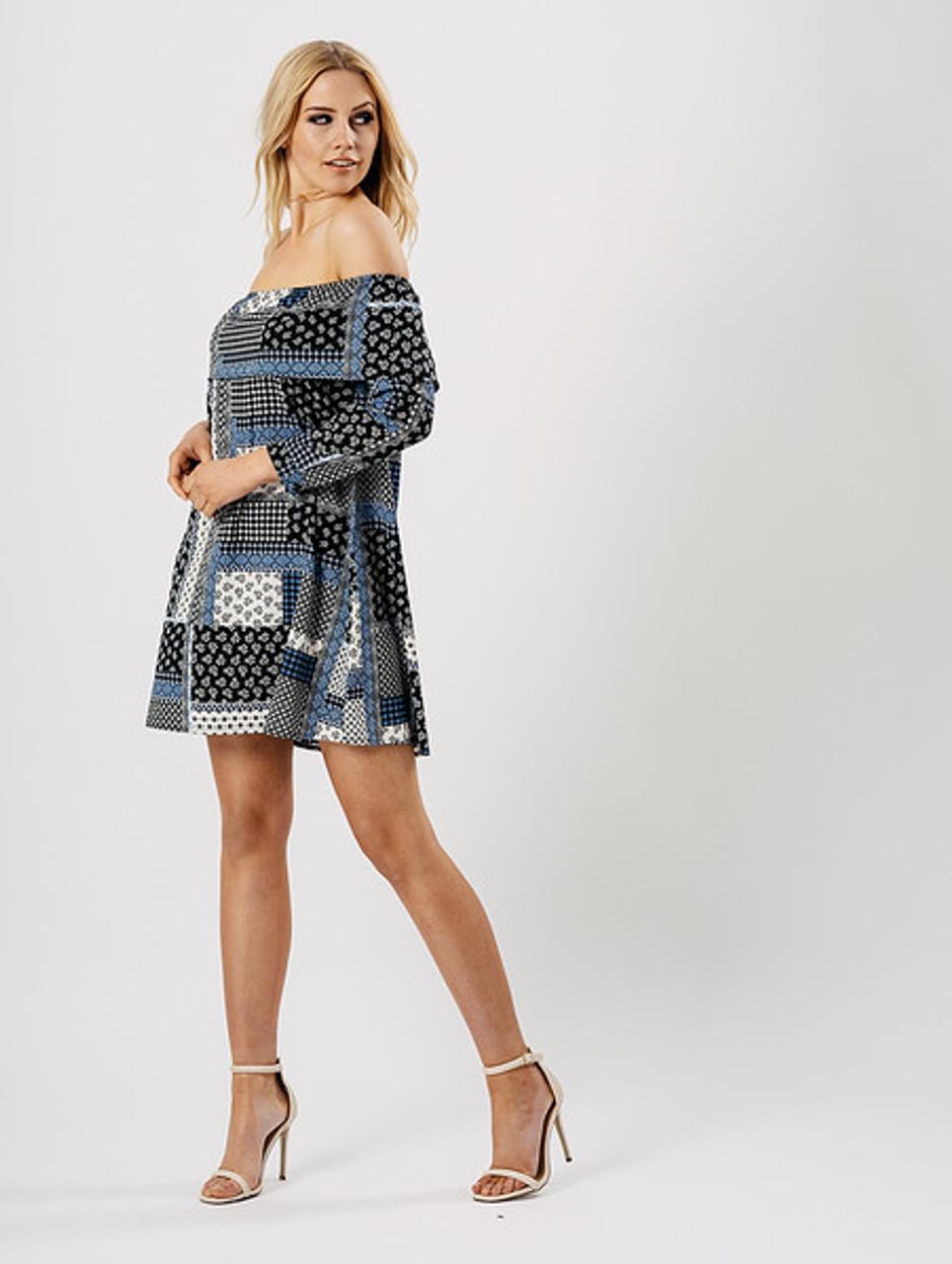 Blue Printed Bardot Frill Dress