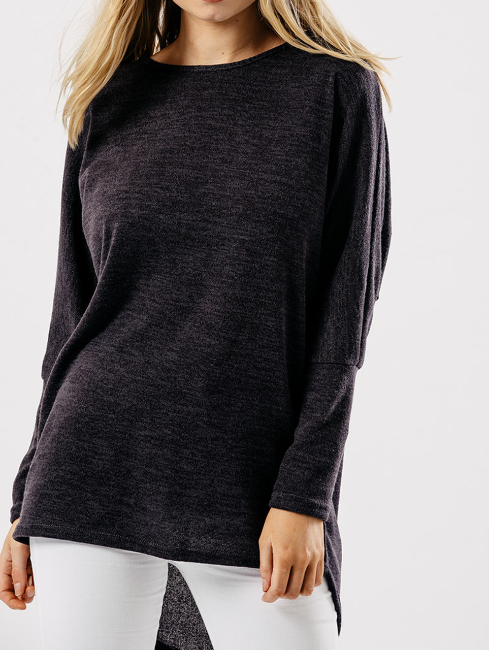 Charcoal Jersey Long Sleeves Dip Hem Top