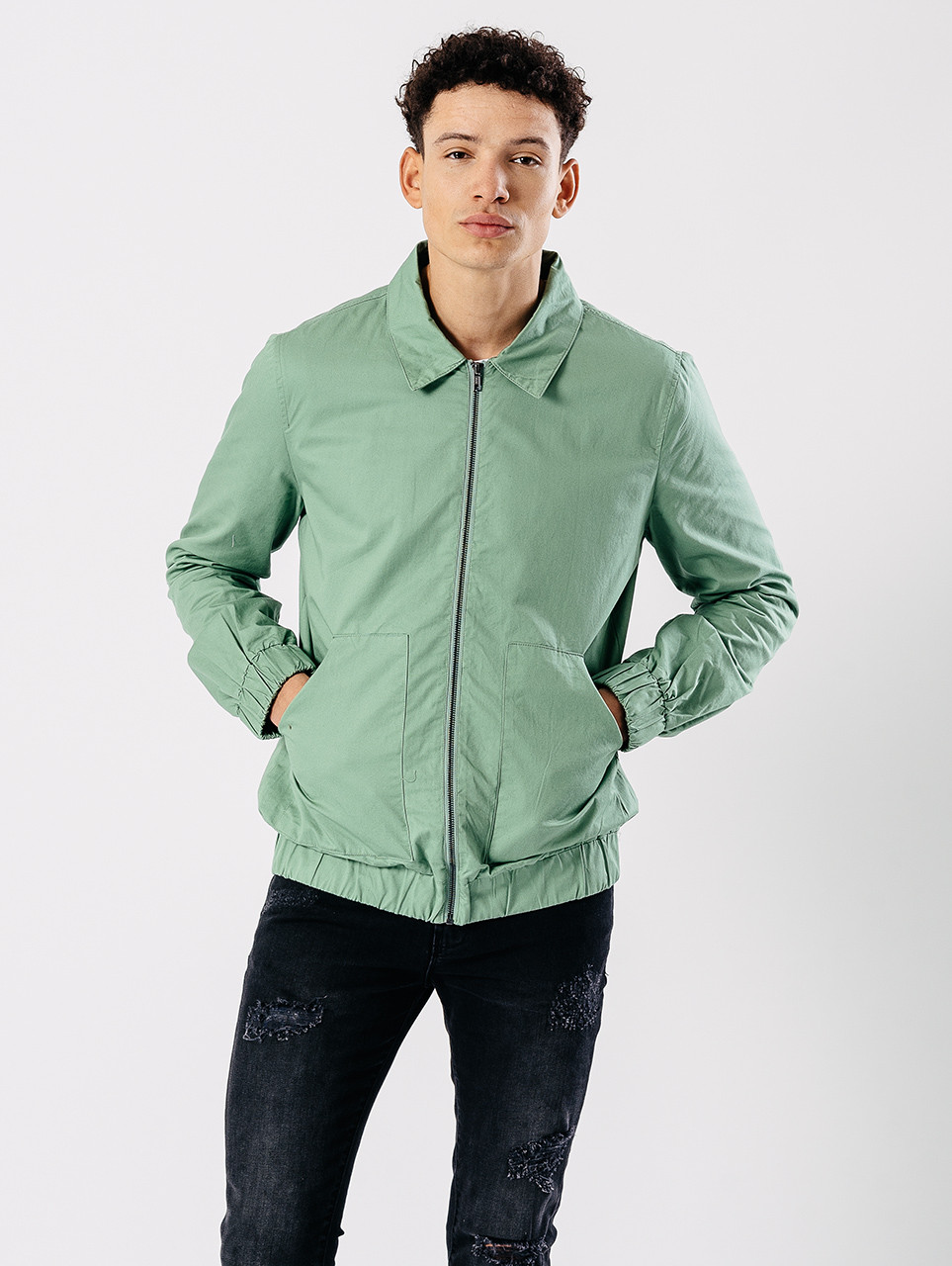 Green Oversized Pockets Harrington Jacket