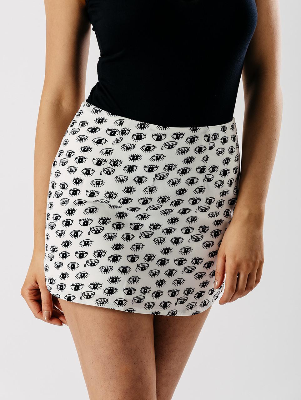 Monochrome Eye Print Mini Skirt