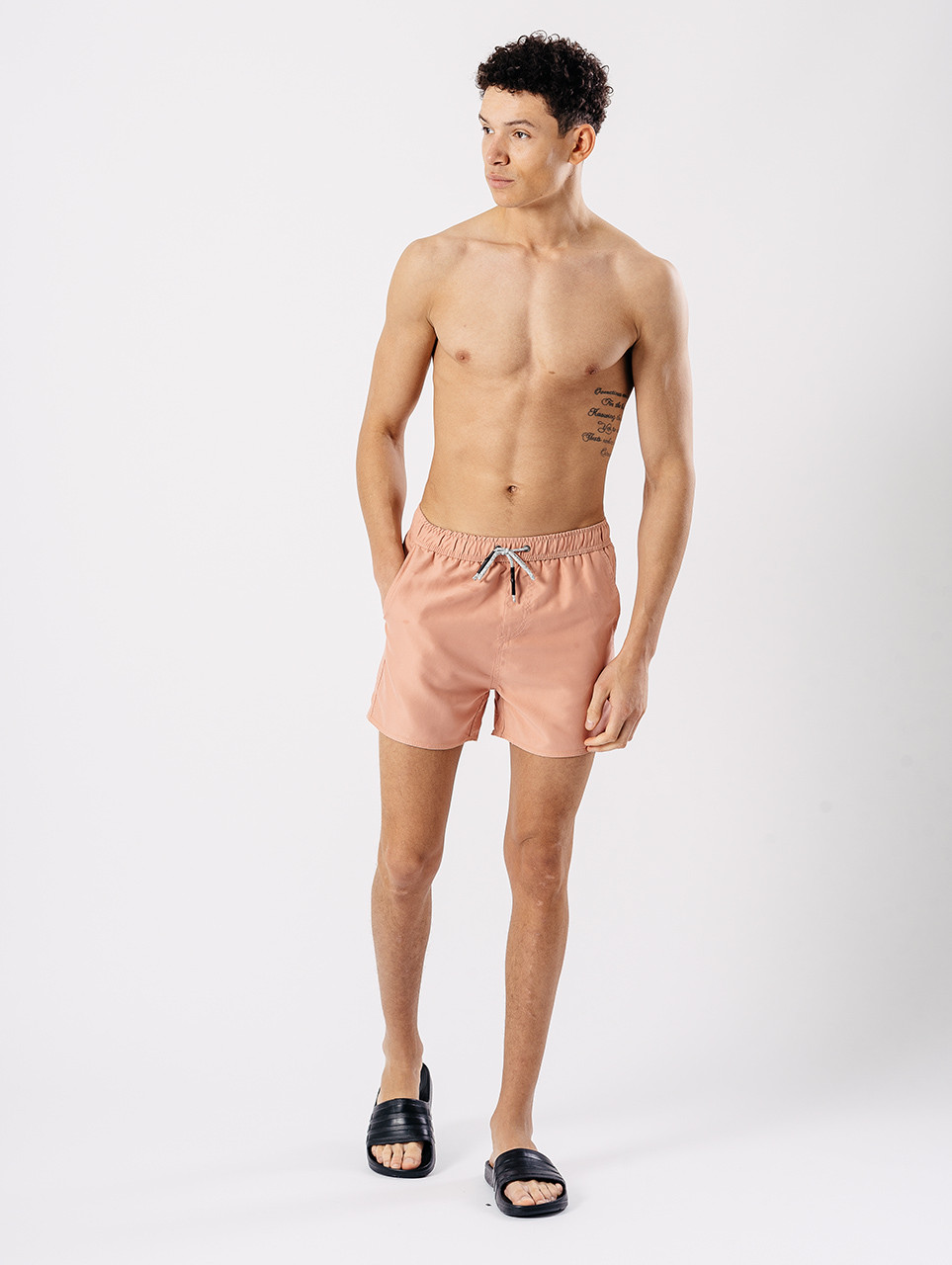 3 Pocket Solid Swim Shorts in Pink