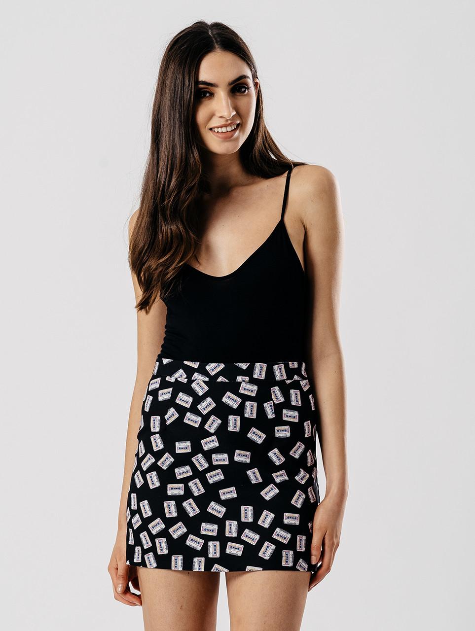 Black Mix Tape Printed Skirt