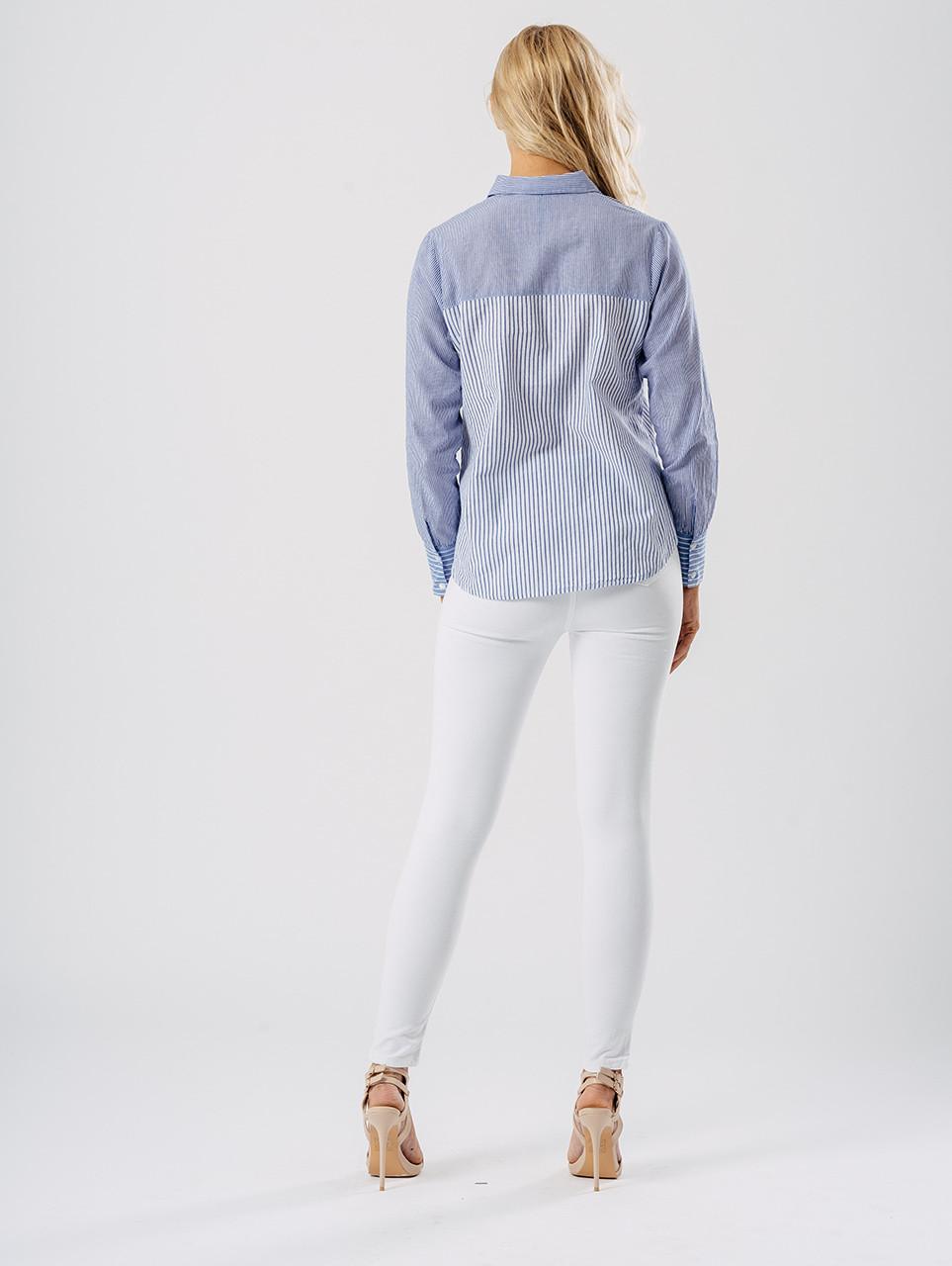 Blue Contrast Stripe Shirt