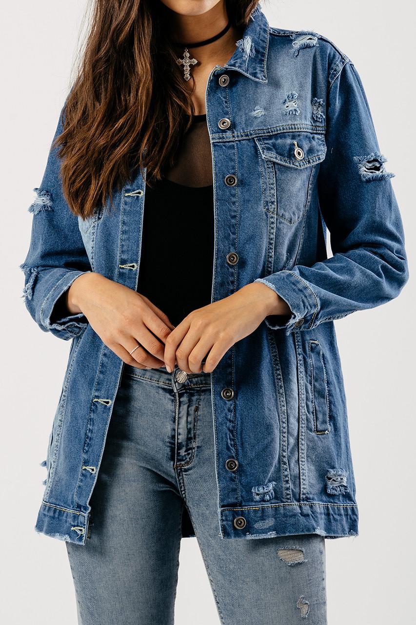 Blue Distressed Denim Jacket