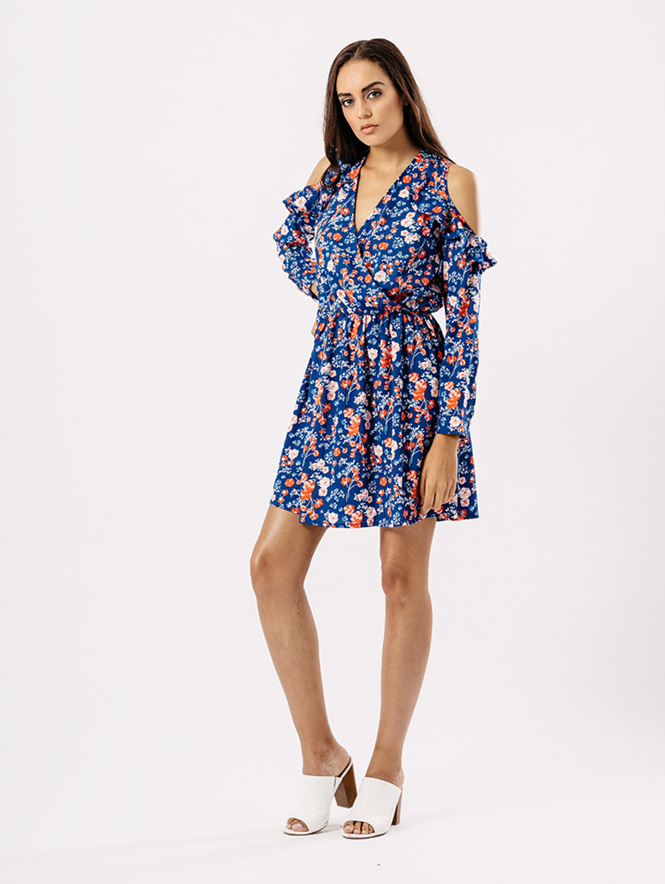 Blue Ditsy Floral Frill Cold Shoulder Dress