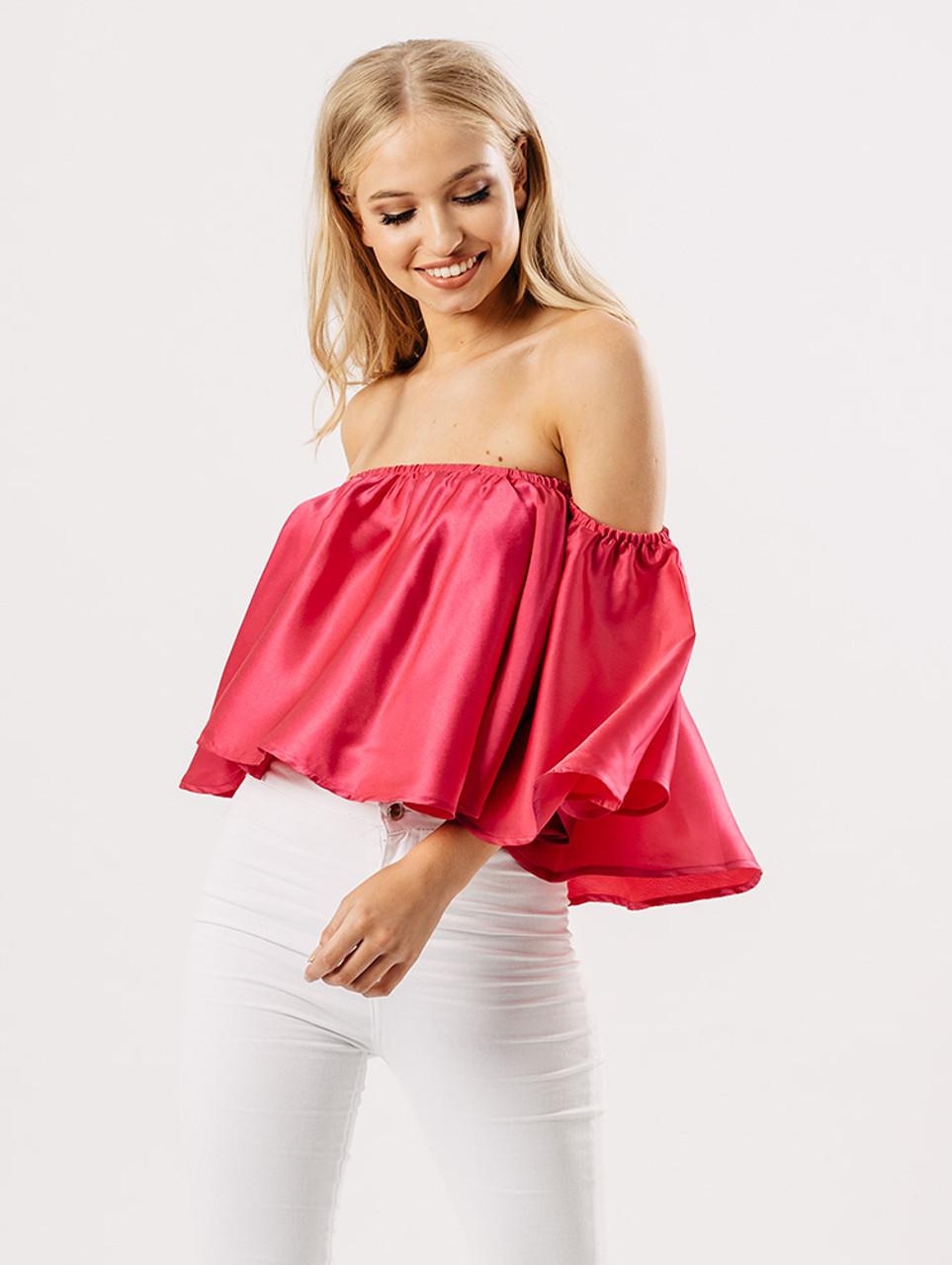 Hot Pink Satin Bardot Top