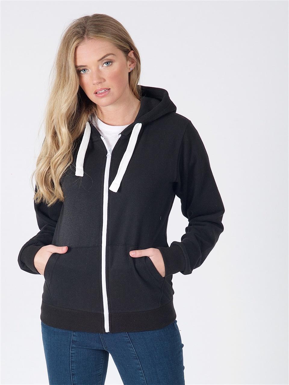 Jersey Zip Hoodie in Black