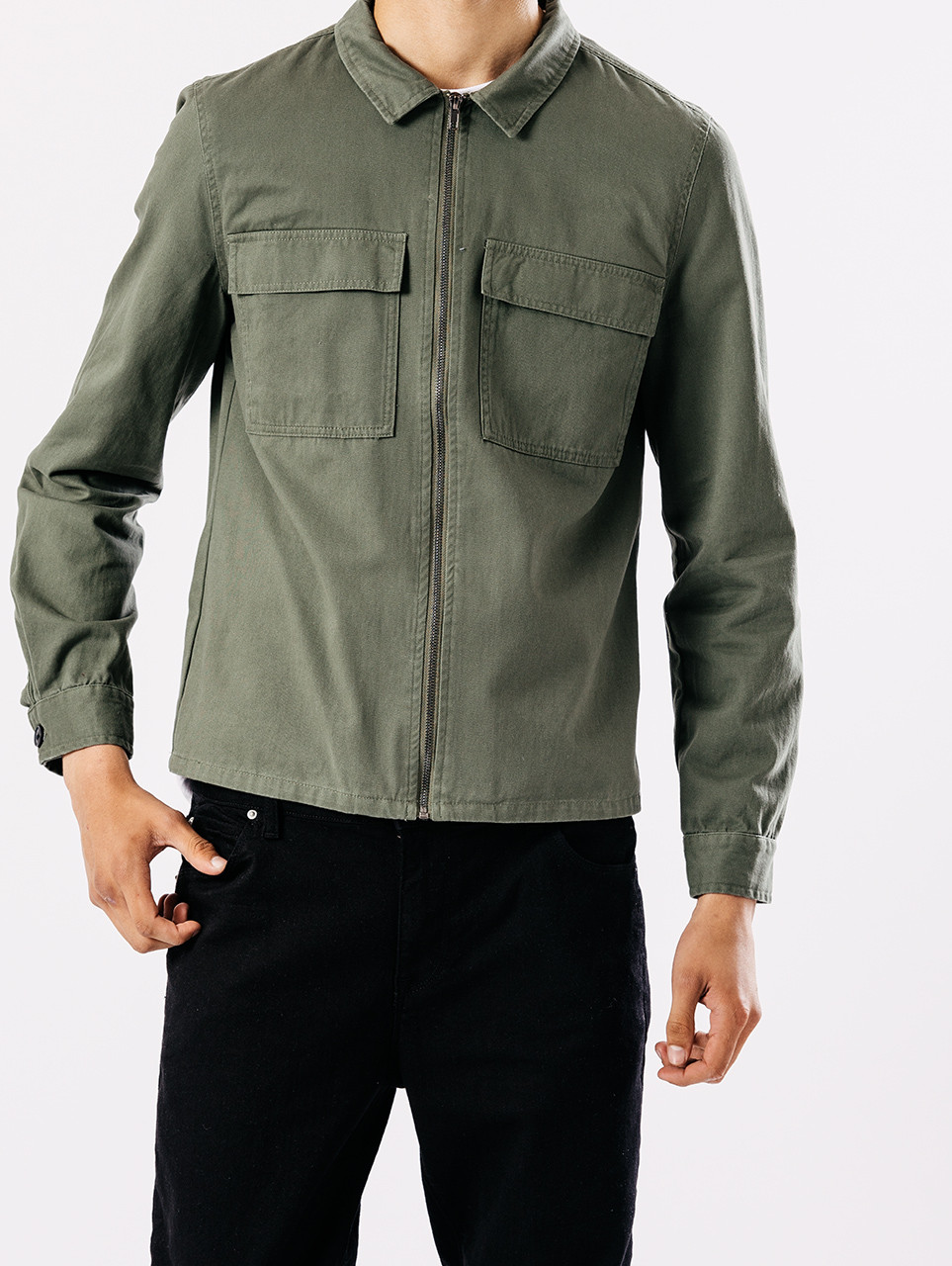 Green Zip Through Overshirt