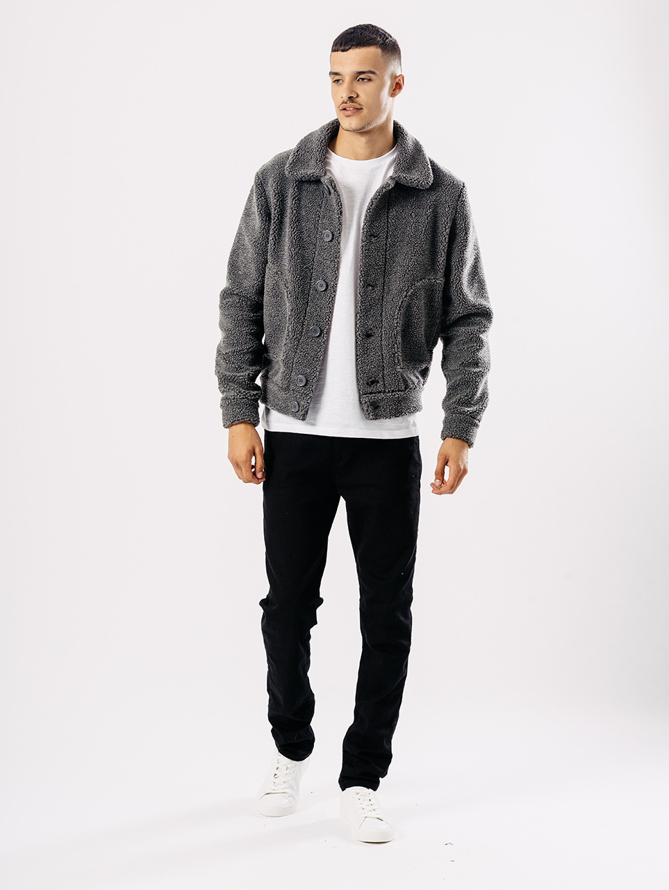 Grey Button Through Sherpa Jacket