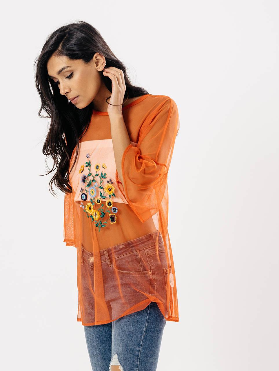 Orange Sheer Embroidered Oversized Top