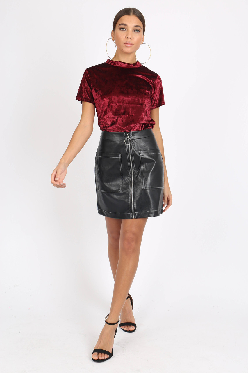 Wine Crushed Velvet High Neck Top