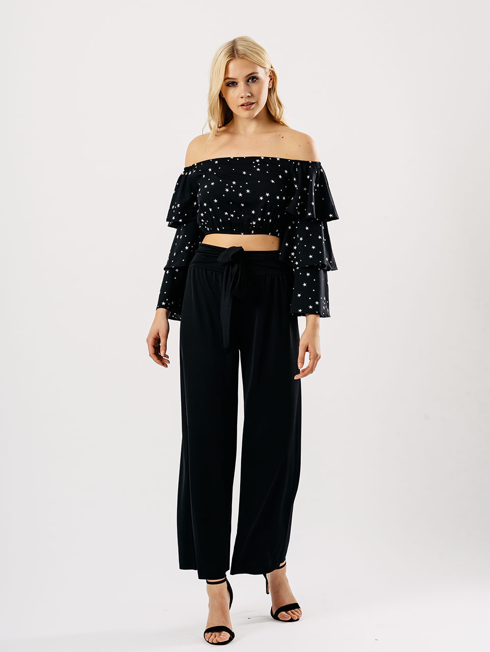 Black Bardot Tier Sleeve Crop Top