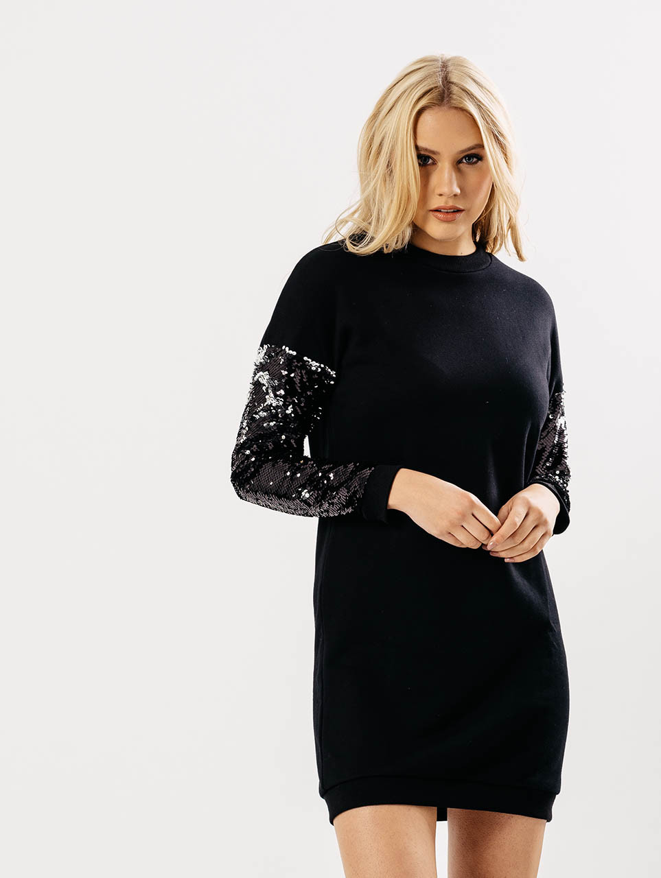 Black Sequin Sleeves Jumper Dress