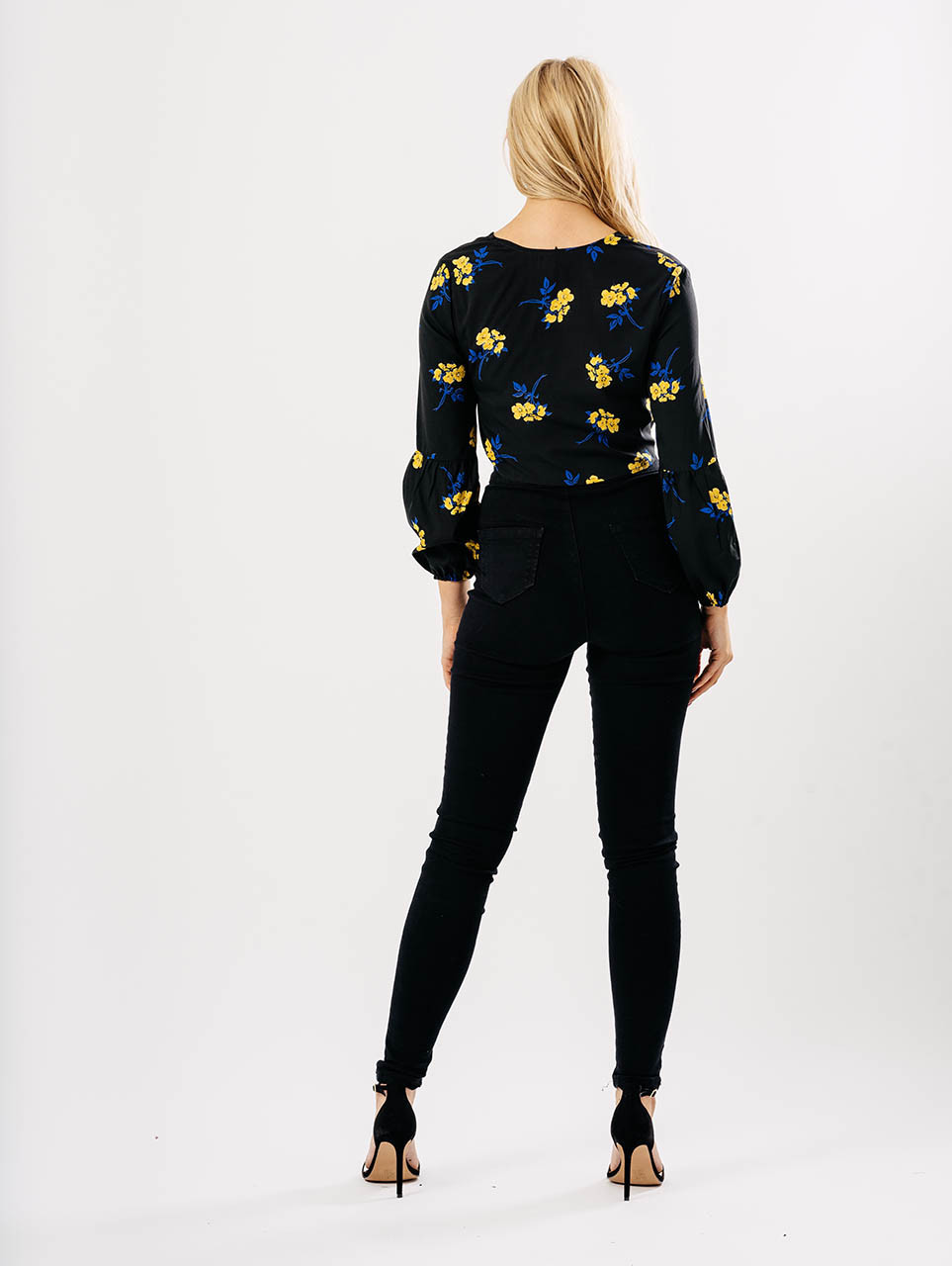 Black Floral Crop Button Up Balloon Sleeve Top