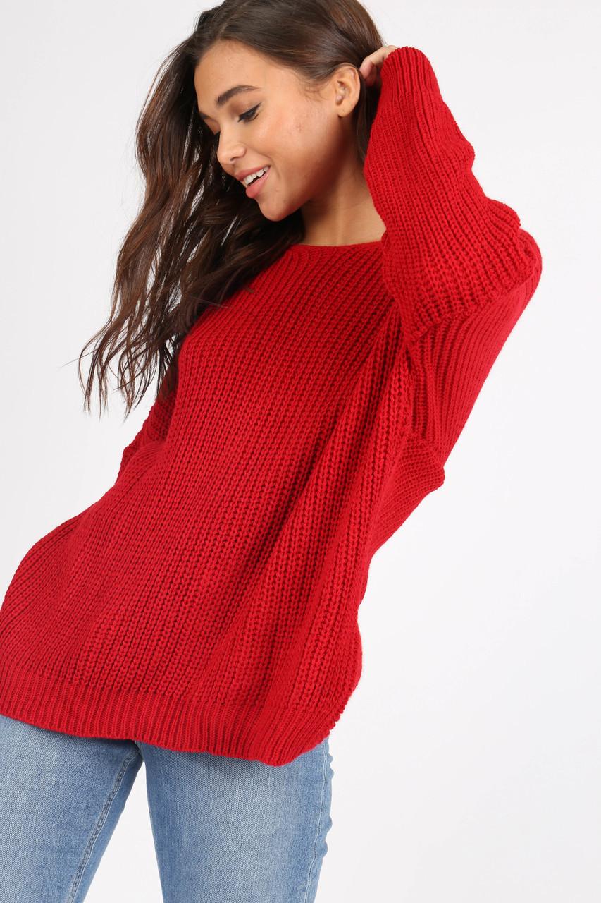 Red Knotted Back Drop Shoulder Knitted Jumper
