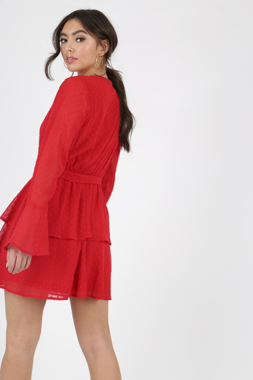 Red Sheer Bell Sleeve Tier Skirt Tie Dress