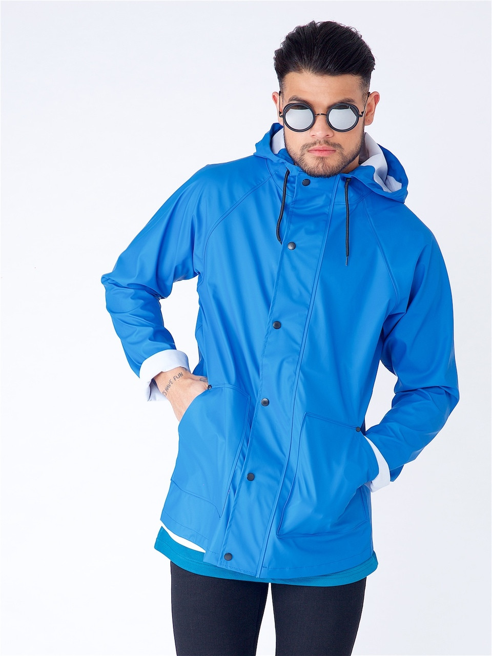 Blue Waterproof Hooded Rain Jacket With Drawcord