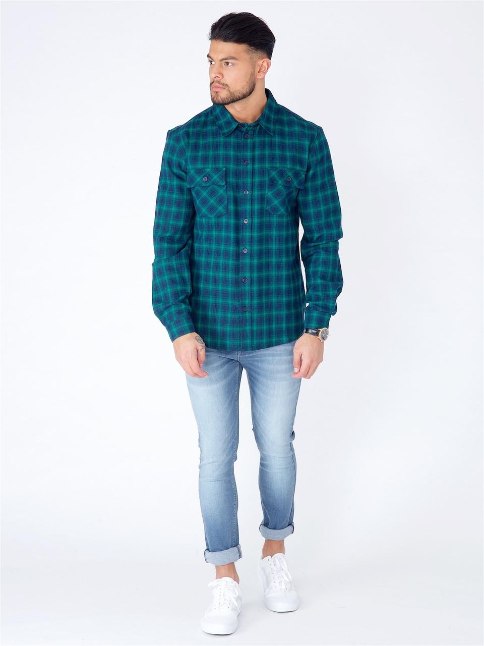 Navy Green Cotton Check Shirt