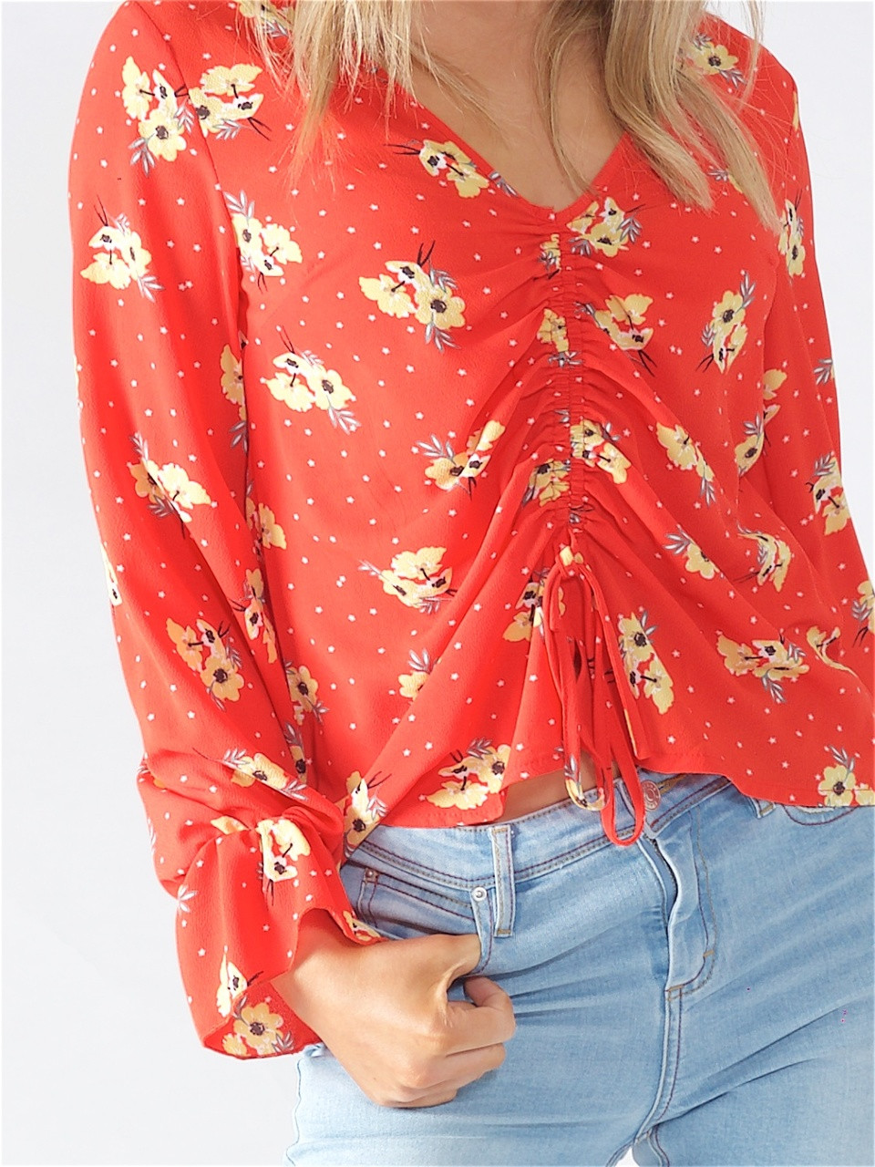 Orange Floral Top with Front Tie Detail