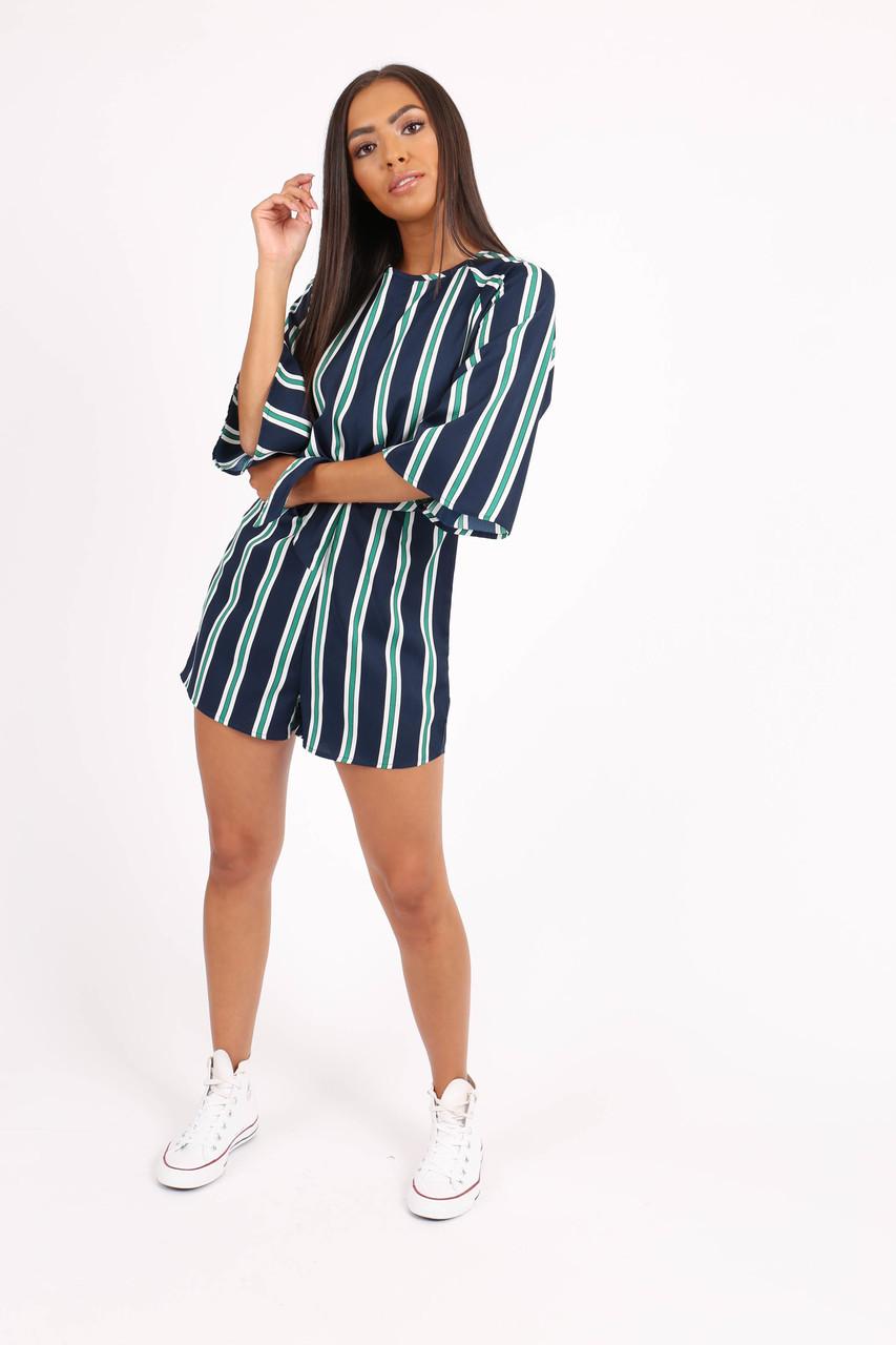 Navy Self Tie Waist Stripe Playsuit