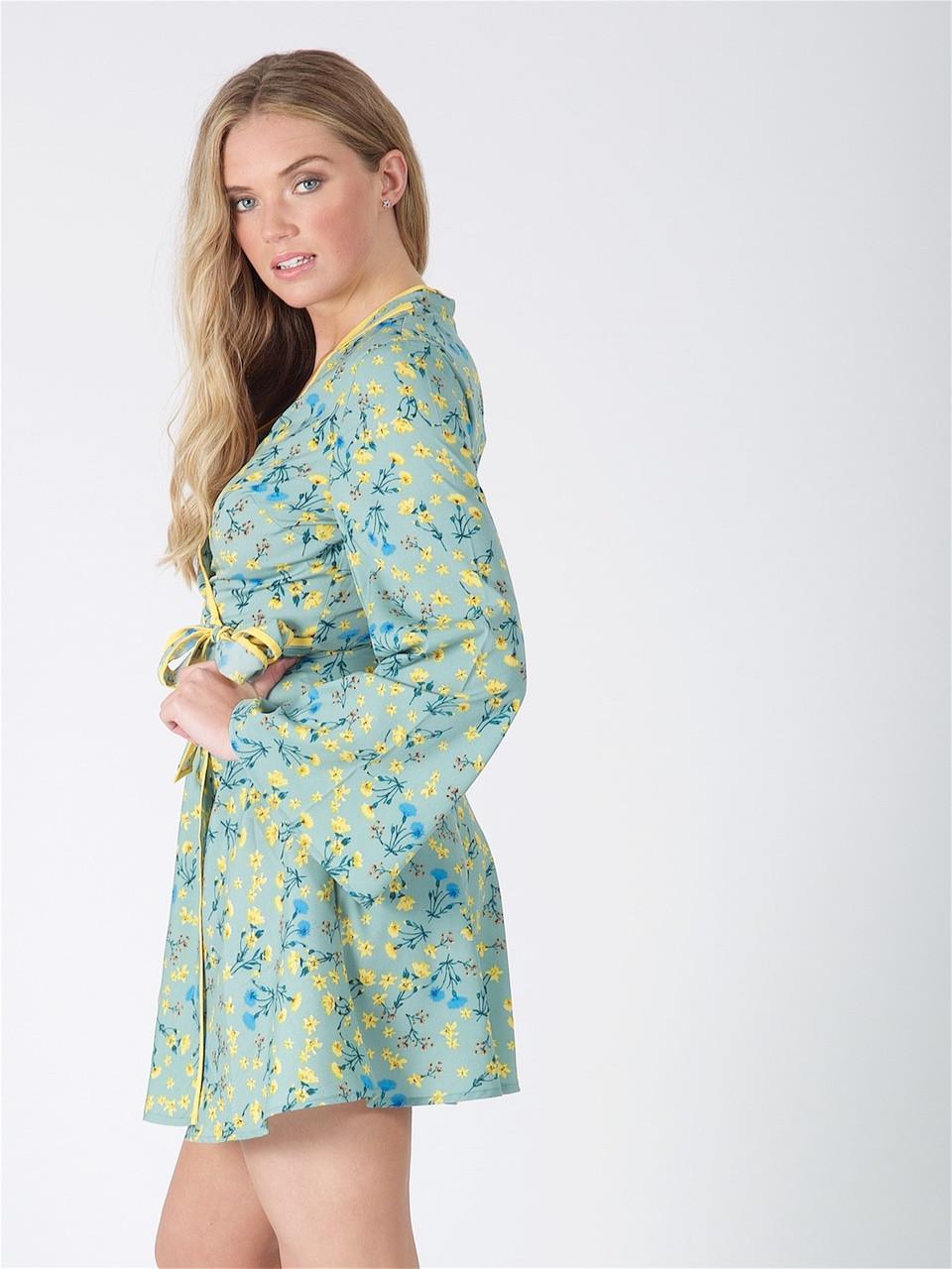 Mint Floral Oriental Style Wrap Mini Dress
