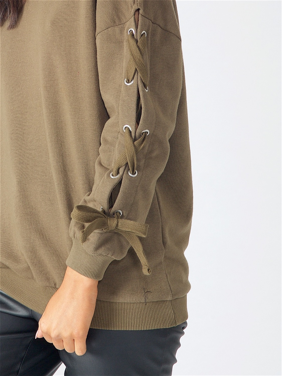 Khaki Lace Up Sleeve Sweat