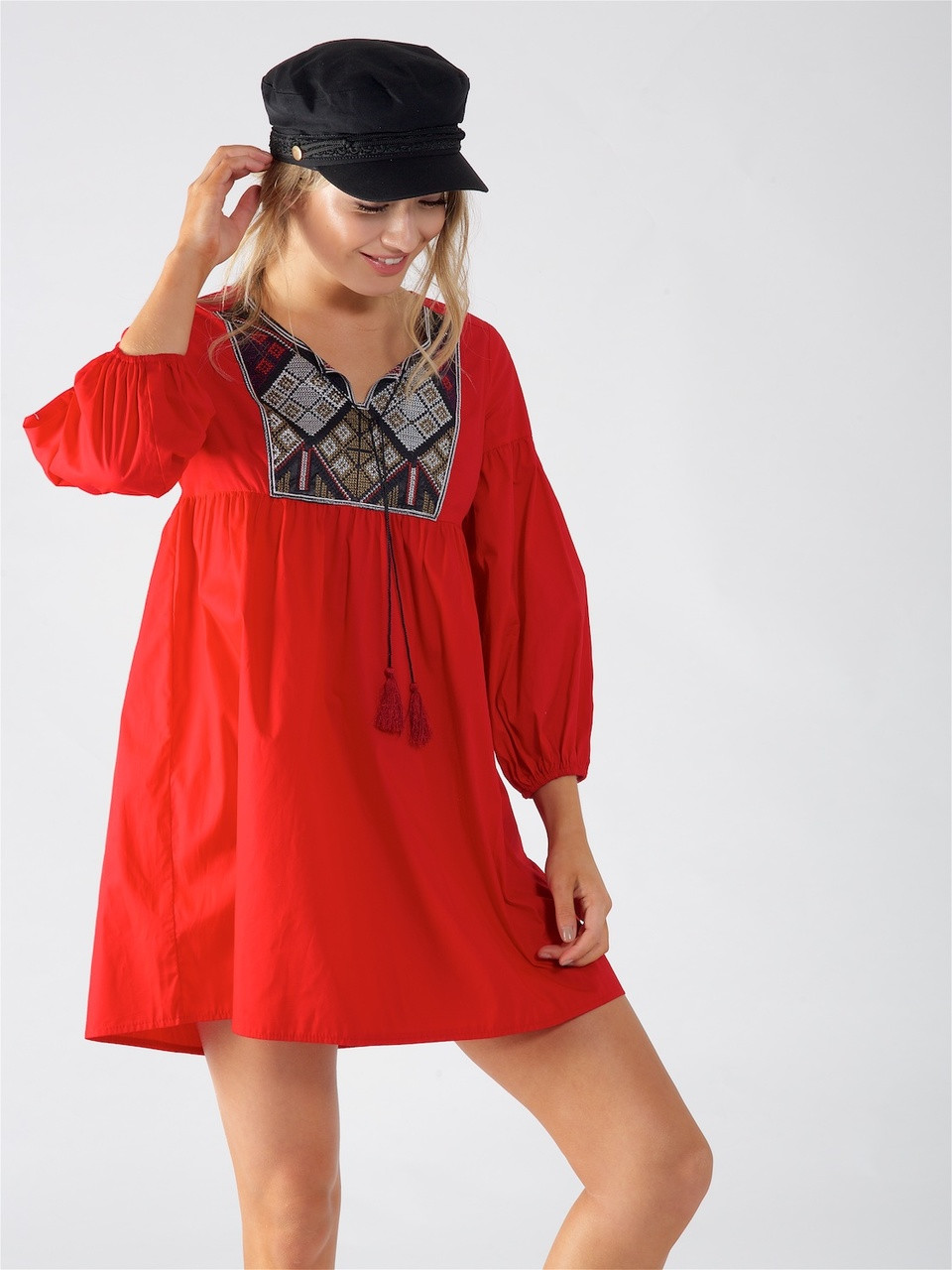 Red Boho Embroidered Smock Dress