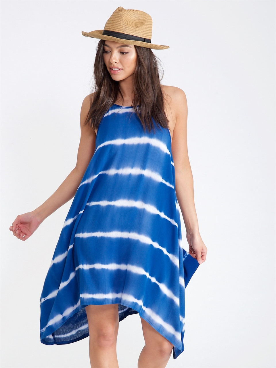 Navy Tie Dye Handkerchief Dress