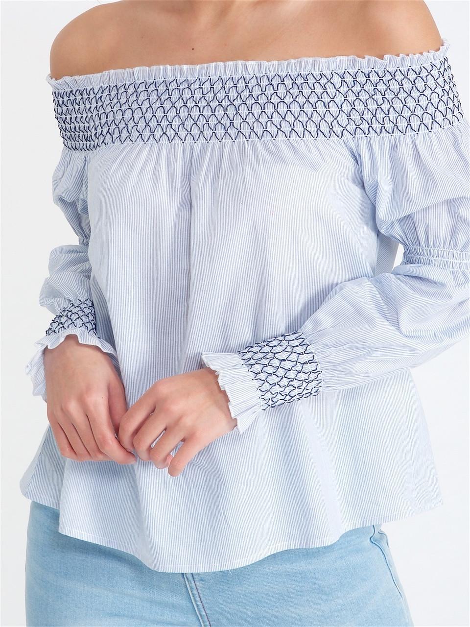 Blue Stripe Contrast Stitch Bardot Top