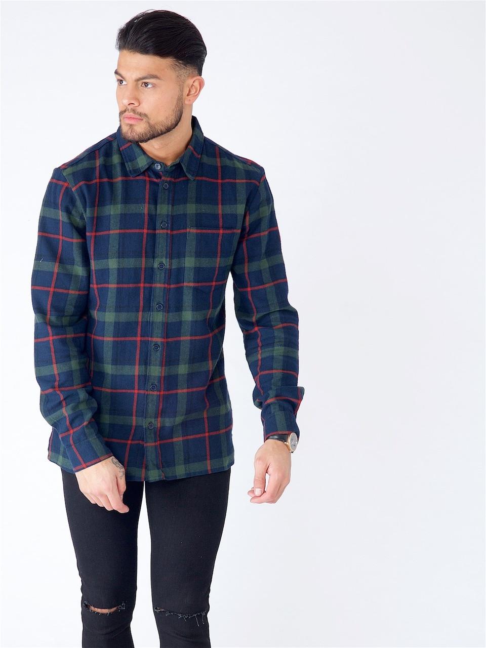 Navy Green Flannel Tartan Check Shirt