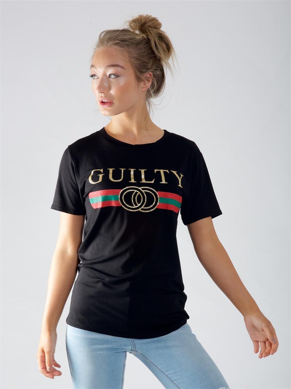 Black Guilty Slogan Tee