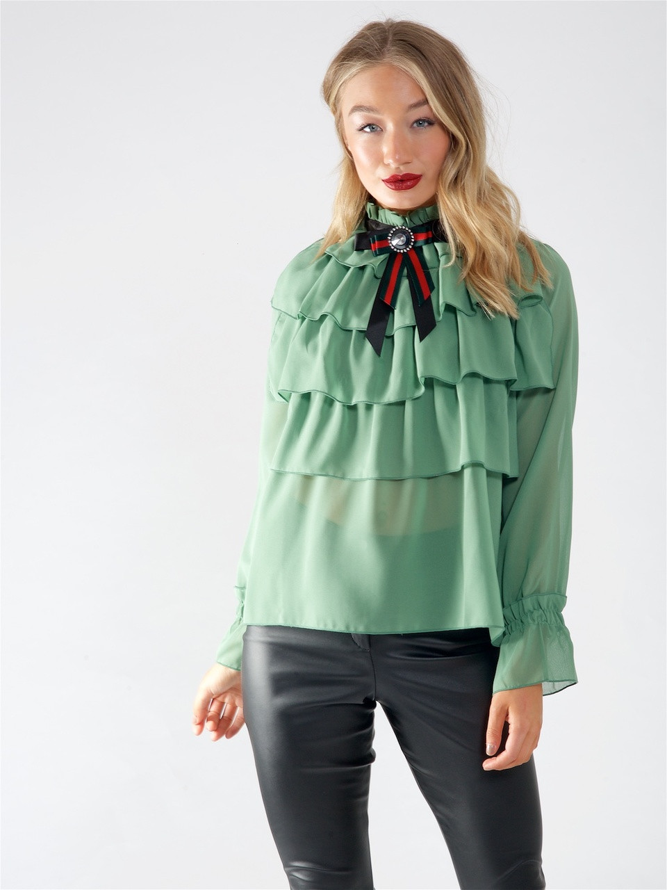Green High Neck Layered Ruffle Blouse