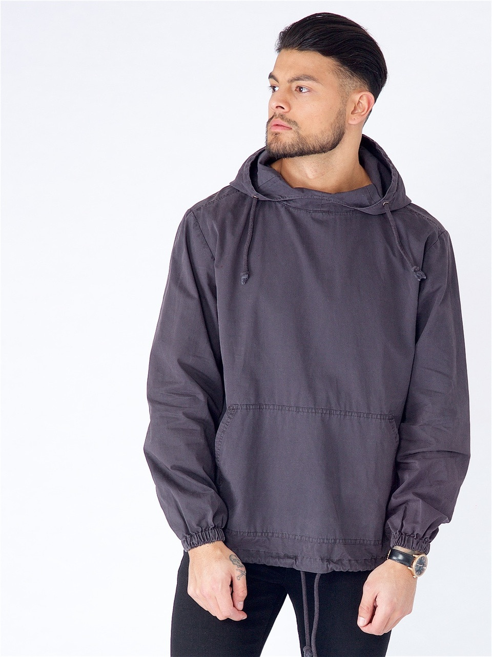 Black Washed Cotton Hooded Jacket