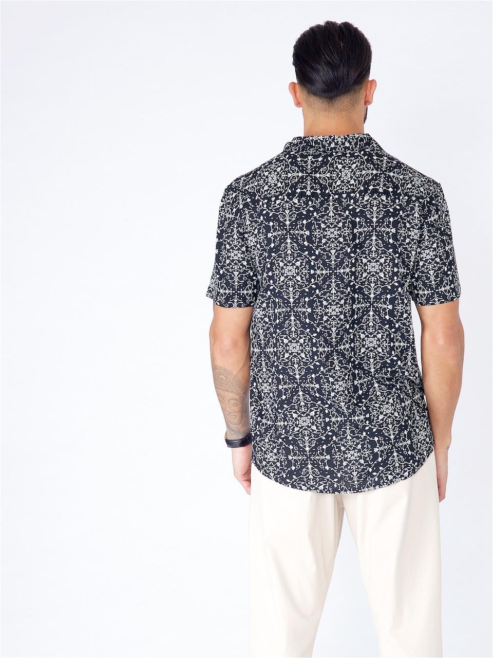Black Printed Short Sleeve Shirt