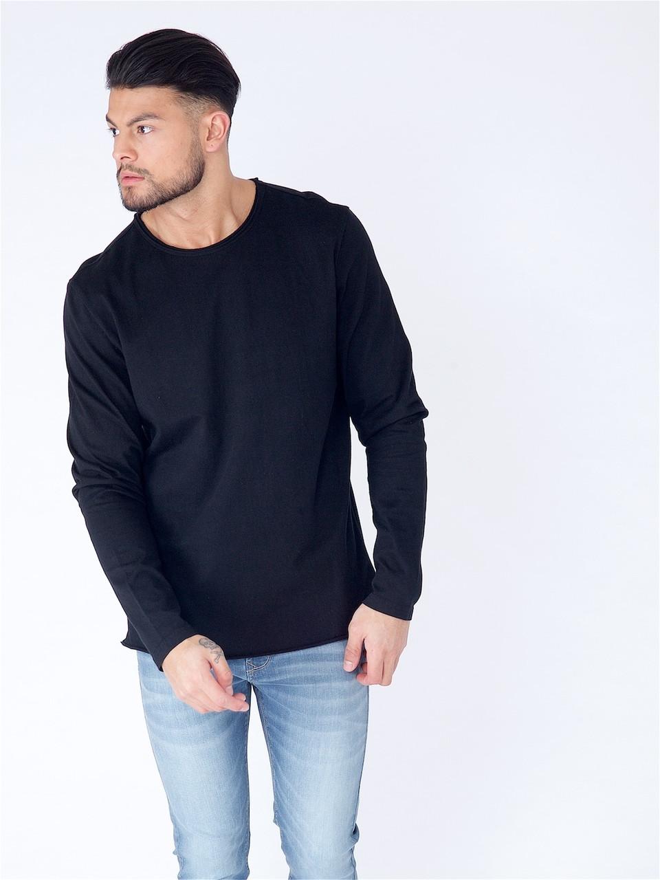 Black Long Sleeve Basic Raw Edge Top