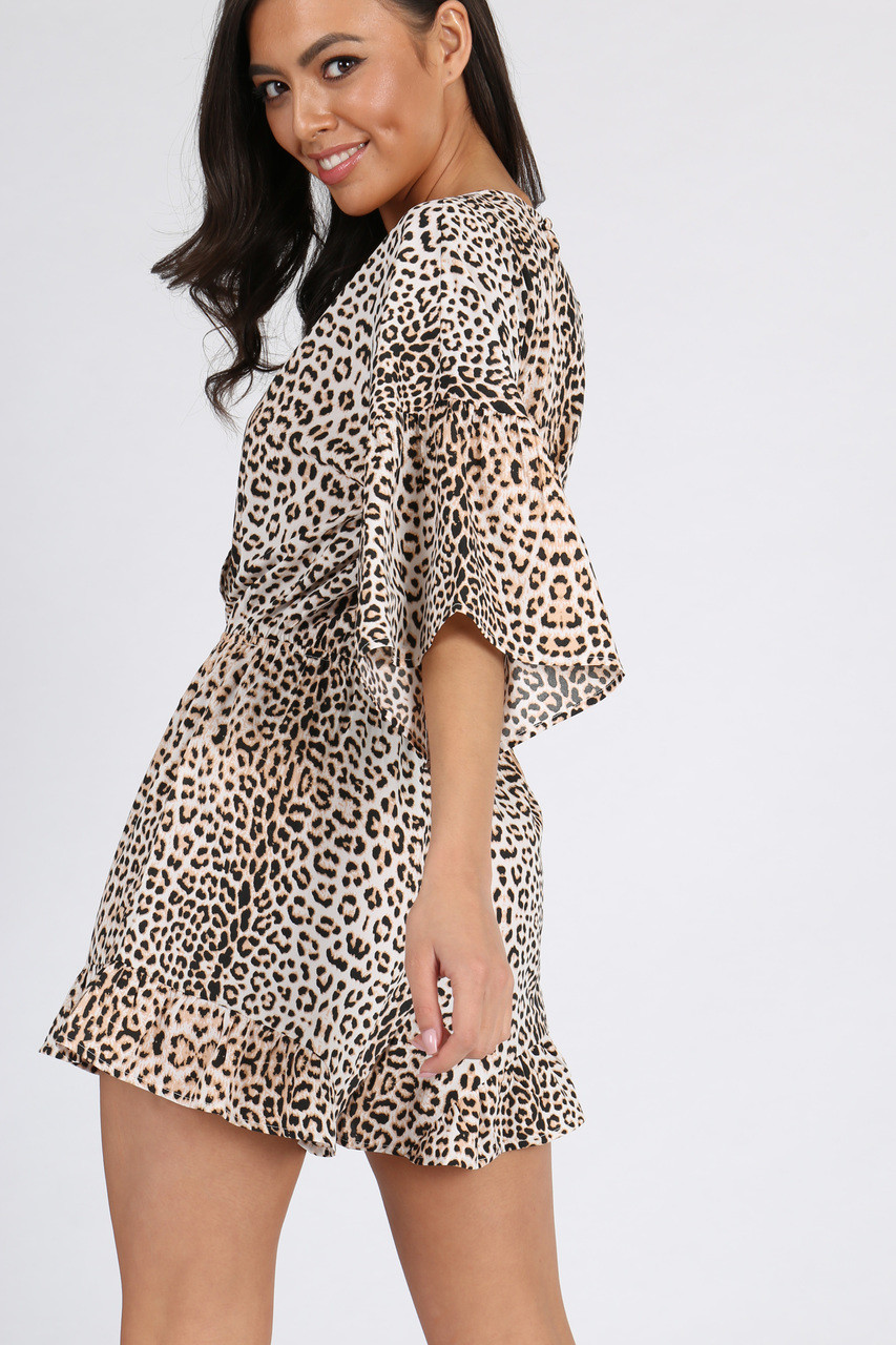 Leopard Print Wrap Playsuit
