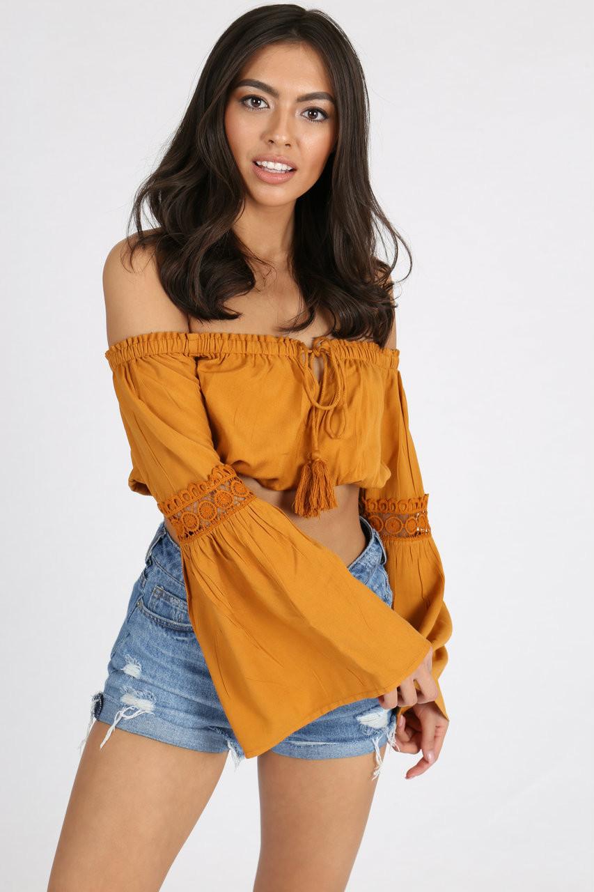 Mustard Crochet Flute Sleeve Crop Top