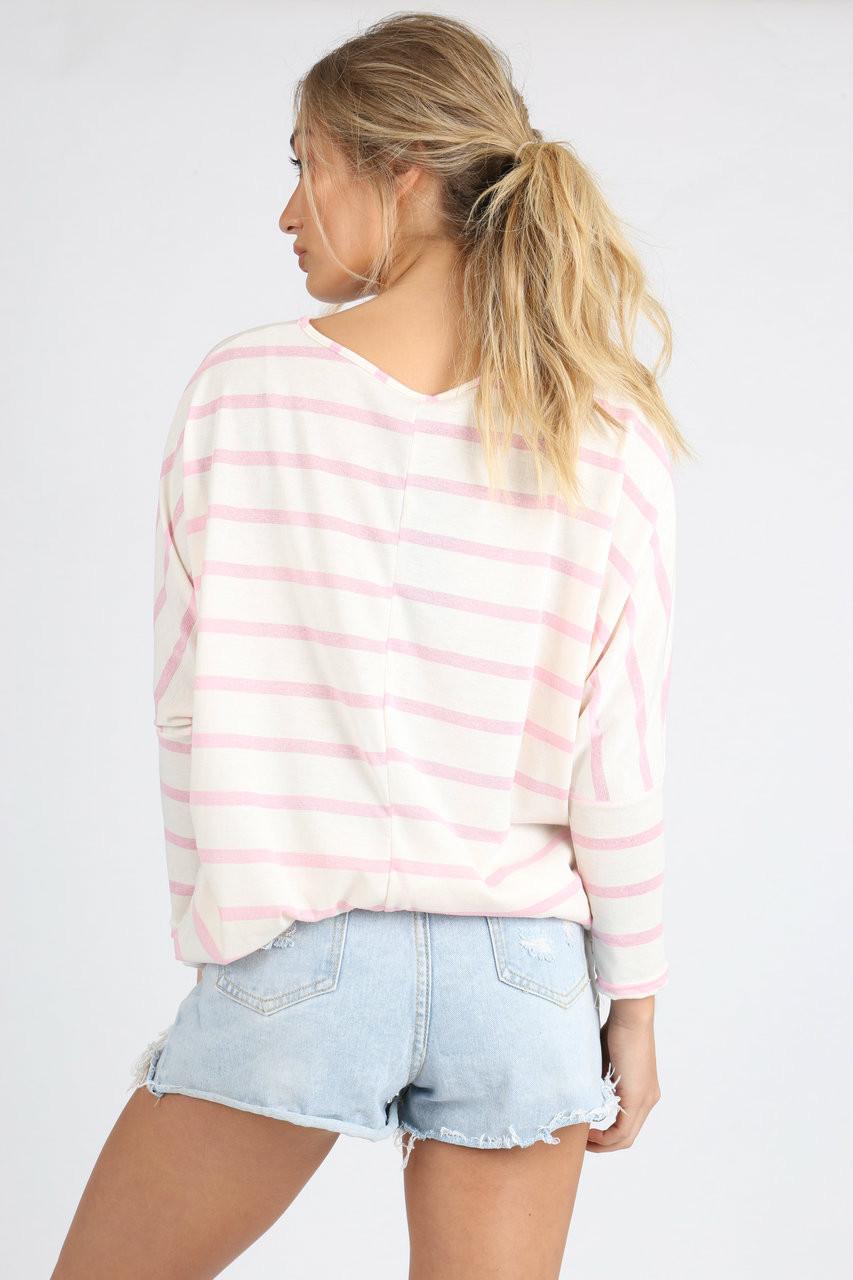 Pink Stripe Longsleeve Batwing Dip Hem Top