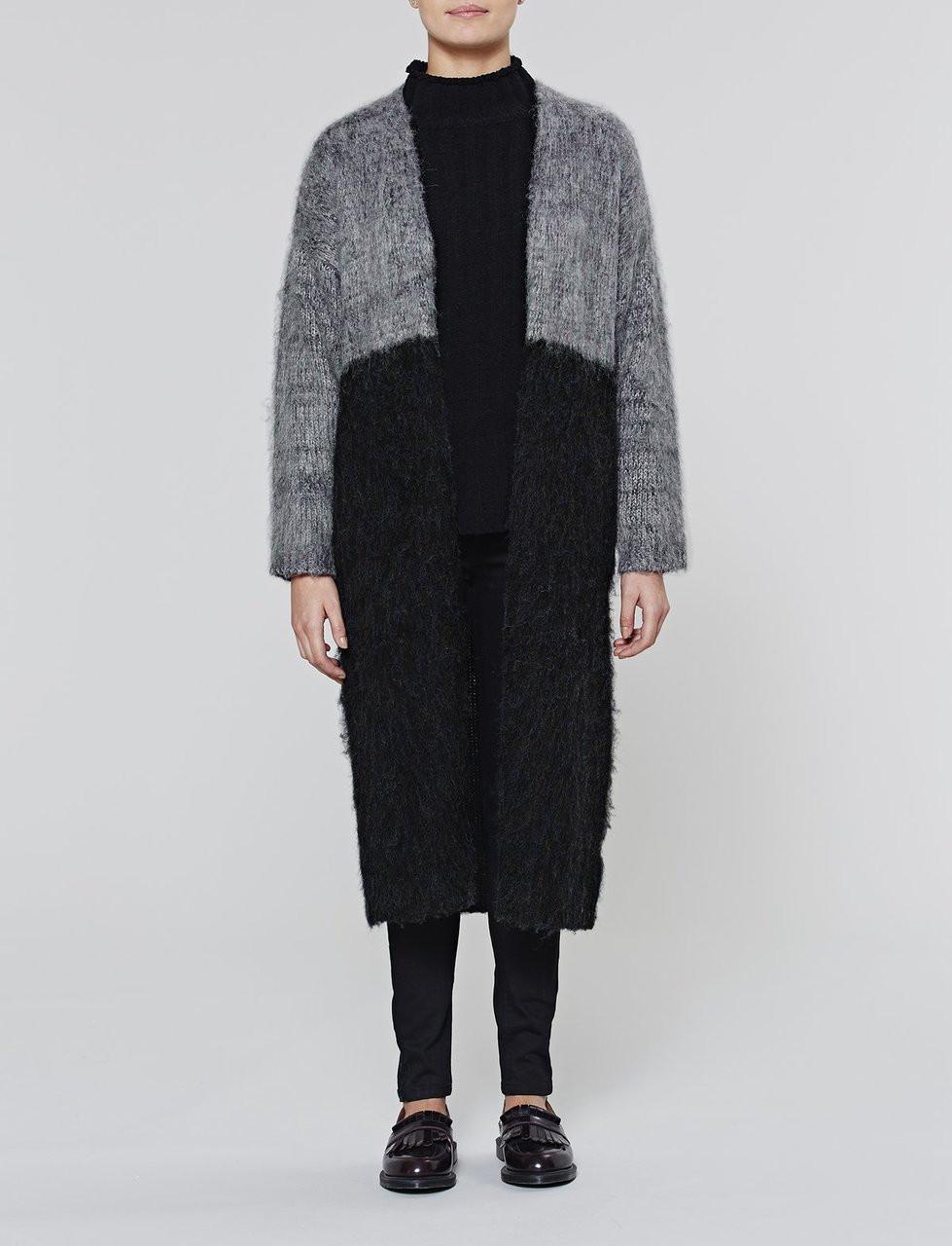 Grey Maxi Colourblock Coatigan