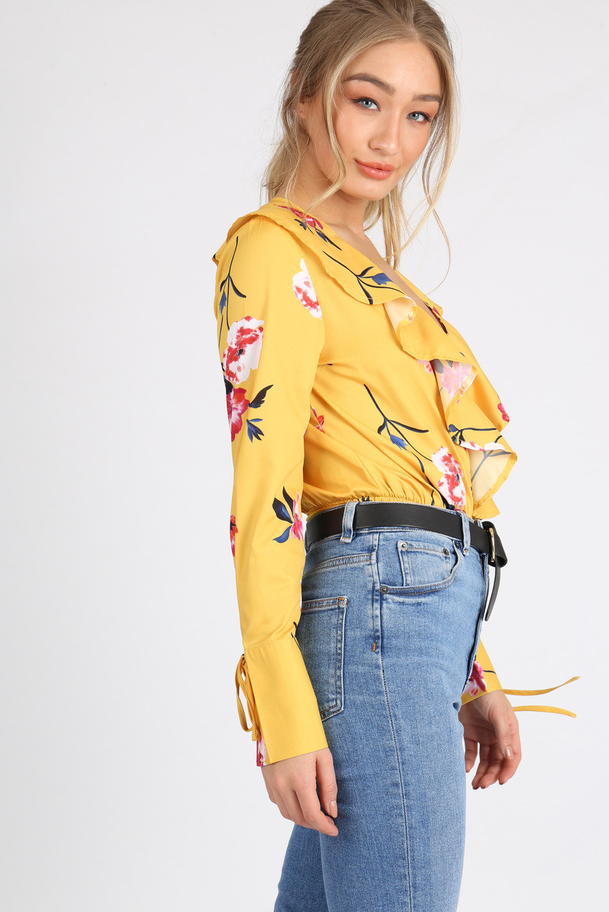 Yellow Floral Ruffle Frill Bodysuit