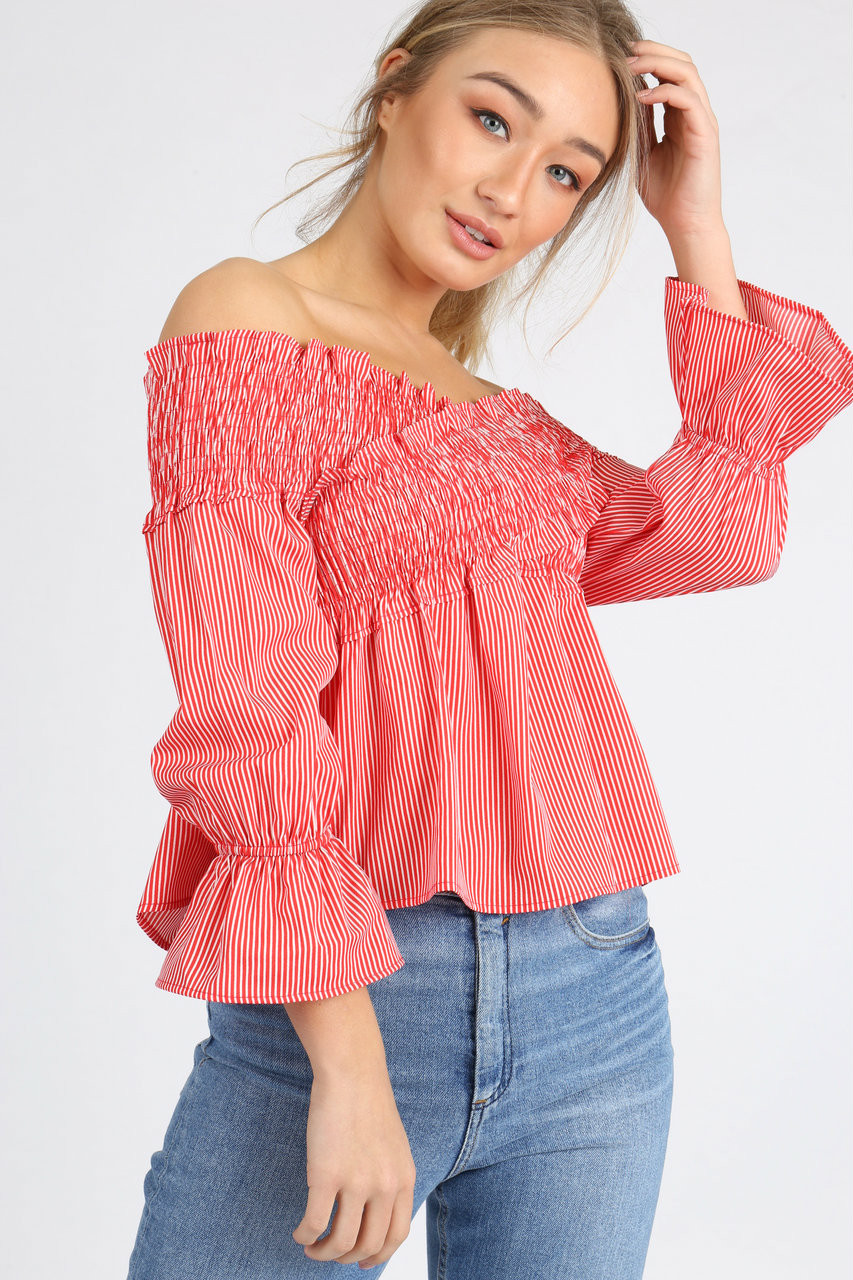 Red Stripe Cross Over Shirred Bardot Top