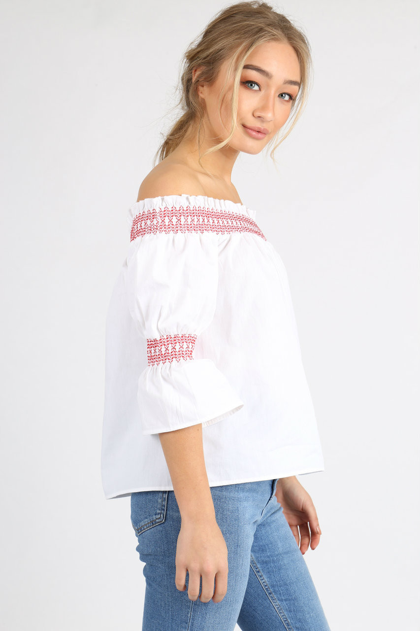 White Contrast Stitch Puff Sleeve Bardot