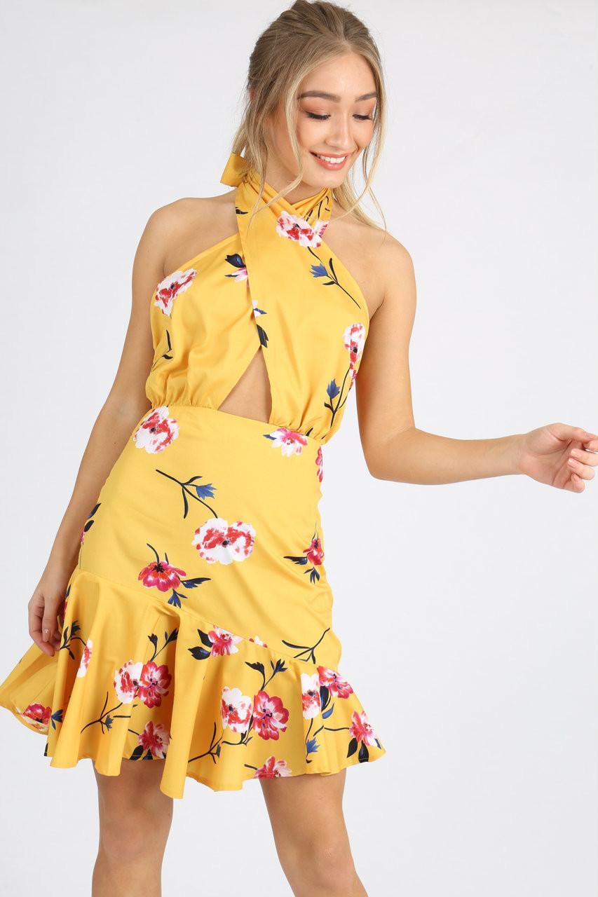 Yellow Floral Self Tie Halter Neck Mini Dress