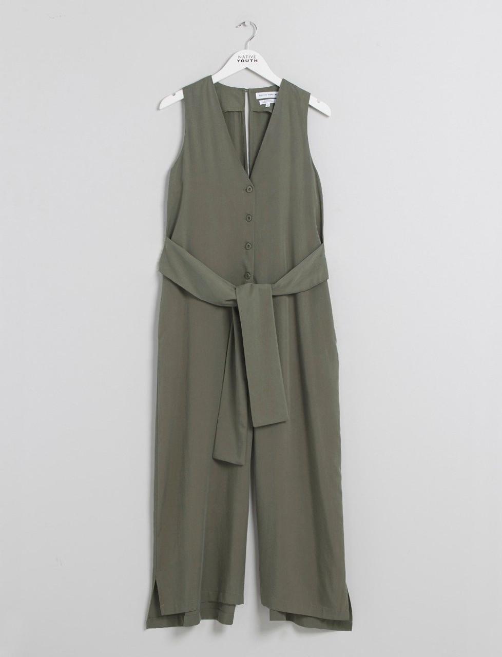 Olive Button Through Tie Waist Jumpsuit