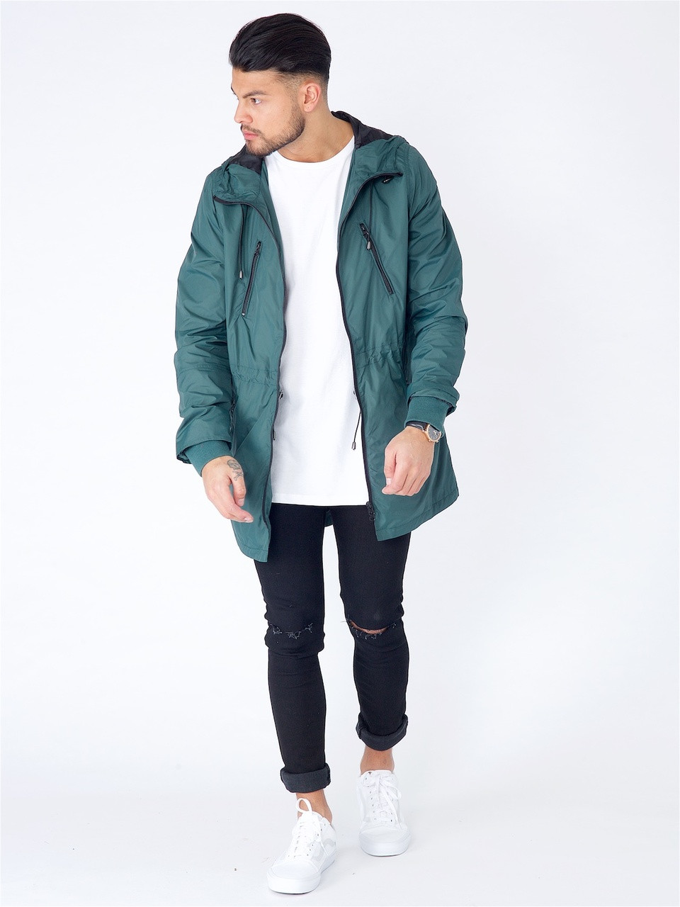 Green Longline Waterproof Hooded Parka