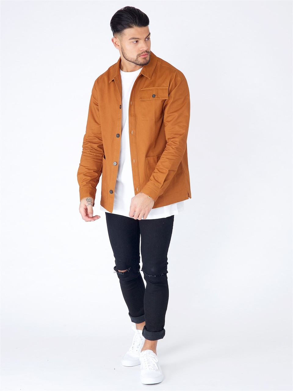 Brown Classic Collared 3 Pocket Overshirt