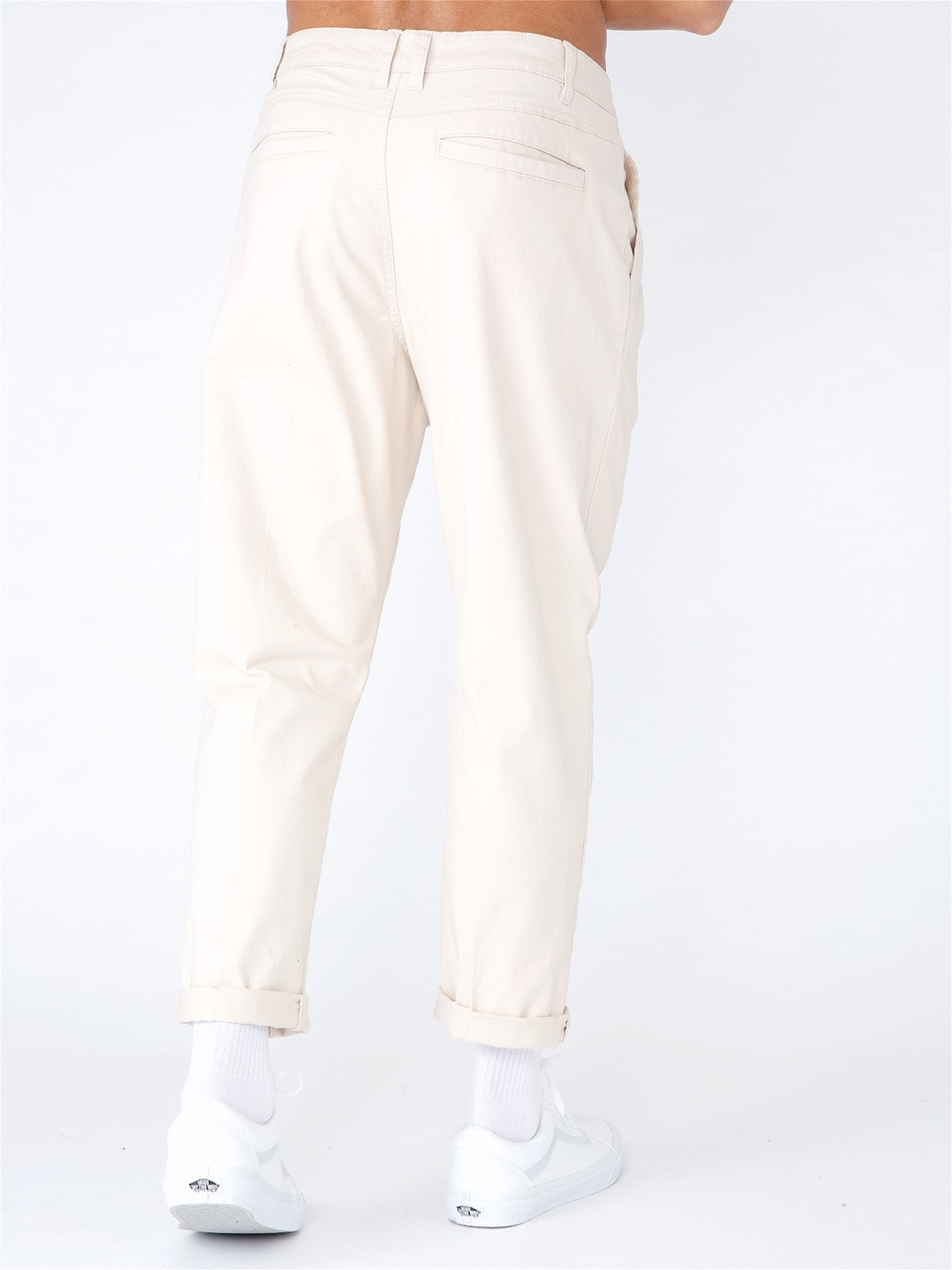 Stone Loose Cropped Pull on Chino