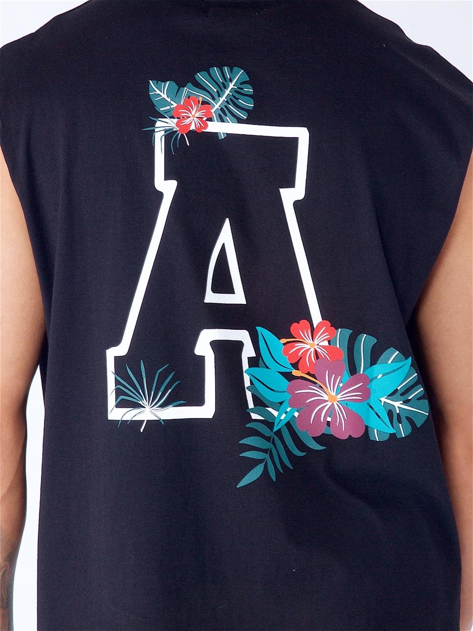 Black Embroidered Tank Vest