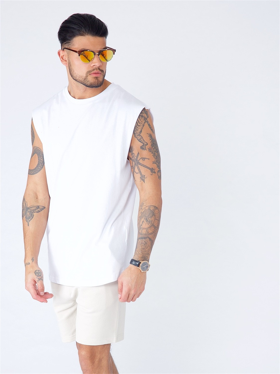 White Embroidered Tank Vest