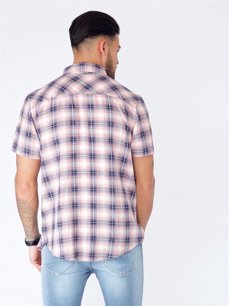 Pink Short Sleeve Shadow Check Shirt